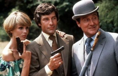L-R - Joanna Lumley, Gareth Hunt and Patrick Macnee