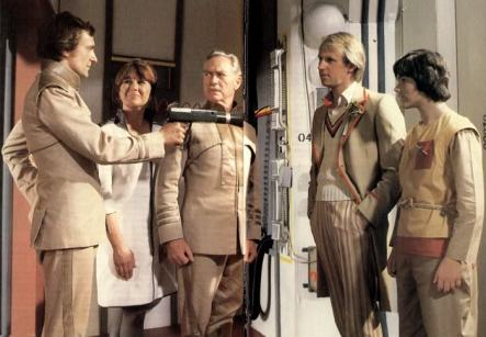 L-R Simon Rouse, Nerys Hughes, Richard Todd, Peter Davison and Mathew Waterhouse