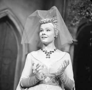 Judi Dench, very young, in medieval garb.